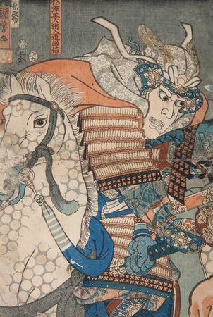 Bitwa na równinie Kawanakajima. Bezpośrednie starcie Uesugi Kenshina z Takedą Shingenem; 1855; lewa plansza tryptyku