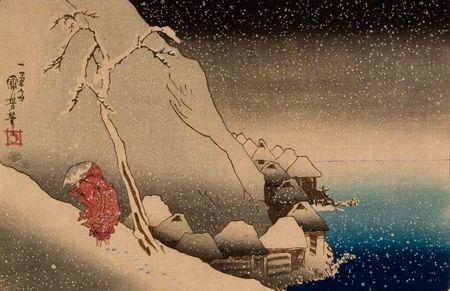 Kapłan Nichiren brnący w śniegu w czasie swego wygnania w wiosce Tsukahara na wyspie Sado / Sadojima; Z serii: Z życia Wielkiego Świętego / Kōso go-ichidai ryaku zu; Oryginał ok.1835–1836 (odbitka późniejsza)